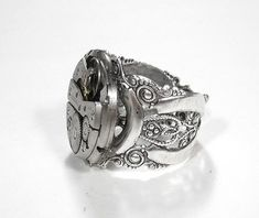 Steampunk Jewelry Ring Vintage Jeweled Watch Silver Ring Wedding Anniversary Fathers Day Gift GORGEOUS - Steampunk Jewelry by edmdesigns