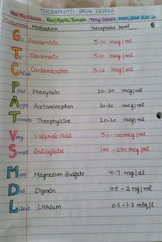 Nursing Mnemonics & Study Tips: Therapeutic Drug Levels Therapeutic drug monitoring refers to the individualisation of dosage by maintaining plasma or blood drug concentrations within a target range (therapeutic range, therapeutic window). Nursing Study Tips, Nursing Labs, Nursing Career, Ob Nursing, Nursing Drug Guide, Nursing Crib, College Nursing, Nursing Degree, Funny Nursing