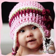 Pretty Crochet Flower Earflap Beanie To Keep Little Heads Warm for Krystle