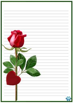 """""""Here I gave you a beautiful red rose. wishing you a Happy St. Printable Lined Paper, Free Printable Stationery, Borders For Paper, Borders And Frames, Image Mickey, Notebook Paper, Journal Paper, Pretty Designs, Paper Frames"""
