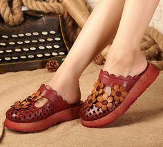 Handarbeit Frauen Sandalen mit Blumen Design Pantoffeln von HerHis