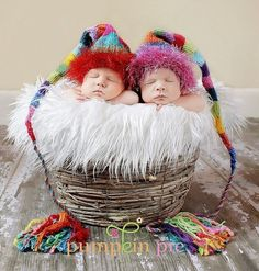 Newborn Twins Picture with Crazy Crochet Hats