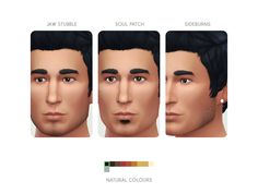 ** STATUS tested, pretty - The Sims 4 | LumiaLover 3 Types of Facial Hair: Jaw Stubble, Soul Patch & Sideburns | non-default male adult beards