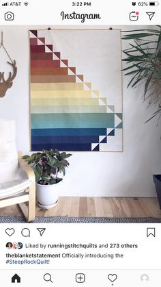The Steep Rock Quilt pattern by The Blanket Statement! Modern, geometric quilt with strips and HSTs to create a beautiful quilt. Strip Quilts, Mini Quilts, Quilt Blocks, Modern Quilting Designs, Modern Quilt Patterns, Quilting Patterns, Quilting Templates, Quilting Ideas, Geometric Quilt