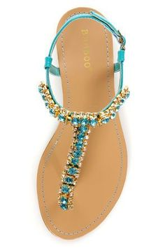 69fa1b0297ef6 Indulge your love for luxury in the sparkling Bamboo Steno 70 Sea Teal  Rhinestone T Strap Thong Sandals! Teal faux patent leather sandals with  blue and ...