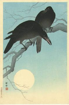 Crows in Moonlight  by Ohara Koson, 1927
