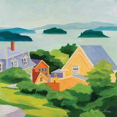 "STONINGTON MORNING 14"" x 14"" print. Custom prints available. #maine #island #coast #painting #art"