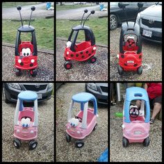 Diy little tikes car makeover. Gypsies new lady bug. We used spray paint to paint it, left over plastic water line for the antennas, plastic Christmas bulbs on top. And we cut the bottom off of a solo cup and spray paint lightly down inside so it wouldn't drip and to avoid over spray for the spots! Toddler Play, Toddler Crafts, Crafts For Kids To Make, Projects For Kids, Little Tykes Car, Little Tikes Makeover, Cozy Coupe Makeover, Backyard Toys, Kids Ride On Toys