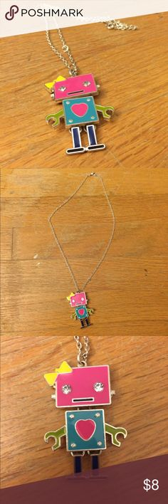 Robot Necklace This cute robot necklace has only been worn 2 times and is practically new. It has no damage and is really cute. Feel free to ask any questions :) Claire's Jewelry Necklaces