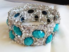 Silver Tone Metal Floral Memory Wire Bangle Bracelet Turquoise Color Stones | eBay