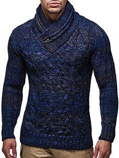 LEIF NELSON - LN6001 Sueter de punto con cuello de bufanda, Azul, Medium