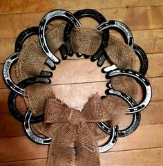 Horseshoe wreath with burlap ribbon