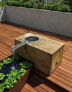 garden design, Water Garden Plants In Roof Garden With Wooden Floor Plants: Roof garden solution for homes with narrow space