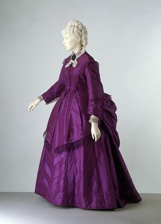 Day Dress with Color-Matched Lace Trim, ca. 1870-73