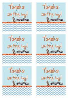 CHEVRON SURFER Printable Favor Tags by LibbyLanePress on Etsy, $8.00.  Make It Myself