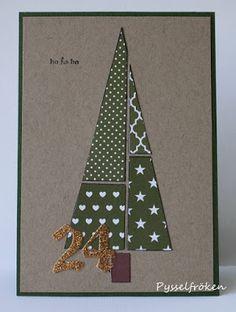 Gummiapan : Julkort igen Christmas Card Crafts, Christmas Origami, Christmas Paper, Xmas Cards, Christmas Time, Calligraphy Cards, Paper Cards, Creative Crafts, Diy Jul