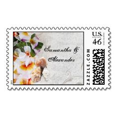Plumeria Orchid Lei in the Sand Beach Wedding Postage Stamps