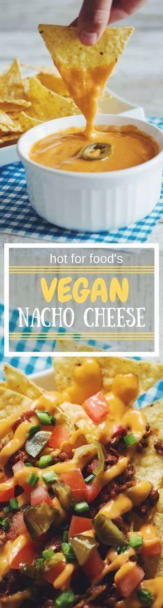 vegan nacho cheese (perfect for chili cheese nachos) RECIPE on… Vegan Cheese Recipes, Vegan Sauces, Vegan Foods, Vegan Dishes, Vegan Vegetarian, Vegetarian Recipes, Healthy Recipes, Nacho Recipes, Vegan Chili