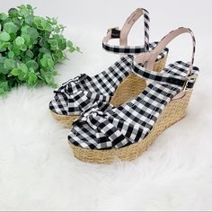 kate spade Shoes | Kate Spade Tilly Black Gingham Wedge Sandals 8m | Poshmark Wedge Sandals, Wedge Shoes, Kate Spade Crossbody Purse, Kate Spade Pink, Ankle Straps, Womens Shoes Wedges, Gingham, Purses, Black