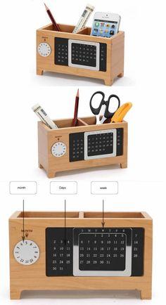 Wooden Struction Multi-function Desk Stationery Organizer Storage Box
