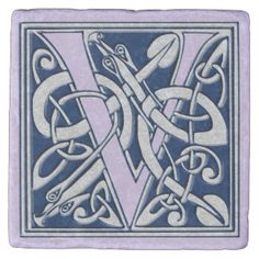 Letter V with Celtic Dragons Stone Coaster