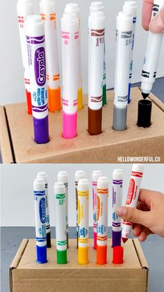 Never Lose a Marker Lid With This Clever Teacher Hack. Never lose a marker lid with this clever marker lid teacher classroom hack to keep all those lids in one place! All you need is a carboard box and hot glue! Diy Crafts To Sell, Diy Crafts For Kids, Projects For Kids, Fun Crafts, Art For Kids, Wood Crafts, Sell Diy, Kids Diy, Diy Wood
