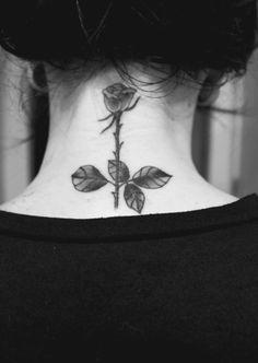 rose tattoo back of neck