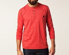 Red Men's Long Sleeve Casual Top