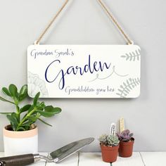 personalised calligraphy hanging metal garden sign birthday gift for grandma garden gift for mum gifts for gardeners