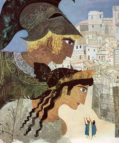 Apollo and Hera looking down on Troy. Illustration: Alice and Martin Provensen. (1956)