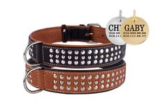 Studded Leather Personalized Dog Collar Brown Black Puppy Small Medium Large XLarge Soft Padded Optional ID Tag by CollarDirect on Etsy https://www.etsy.com/listing/193550447/studded-leather-personalized-dog-collar