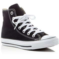 Converse Chuck Taylor All Star High Top Sneakers (250 RON) ❤ liked on Polyvore featuring shoes, sneakers, converse, black, sapatos, polka dot sneakers, black hi tops, converse shoes, high top trainers and converse high tops