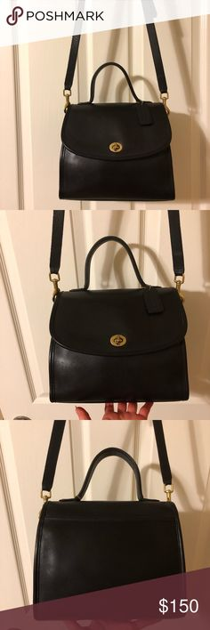 Vintage Coach Manor Bag 9977 #C6C-9877. Made in the United States in 1996. Black leather with brass hardware. 9.5 x 8 x 4.5. Cleaned and conditioned thoroughly using Leather Therapy and Skidmore's, no dyes/paint that can crack over time. Ready for another 20 years of use. All my bags are near pristine unless otherwise stated or shown in pix. Coach Bags Crossbody Bags