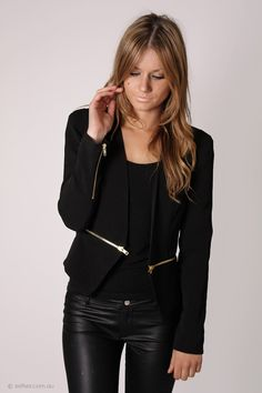 zipped up black blazer - with gold zip. LOVE