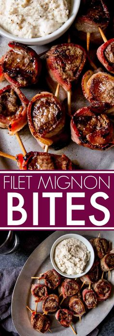 Filet Mignon Bites with Creamy Horseradish Sauce are the perfect elegant party appetizer. Bacon is wrapped around filet mignon and skewered. #appetizer #filetmignon #partyappetizer #fingerfood