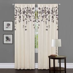 Lush Decor Ivory/ Purple Faux Silk Flower Drop Curtain Panel   Overstock™  Shopping   Great Deals On Lush Decor Curtains