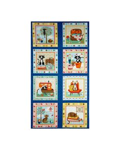 BUSY BEE FAMILY FABRIC 100/% COTTON METRE BLUE MATERIAL CUSHIONS PATCHWORK GIFTS