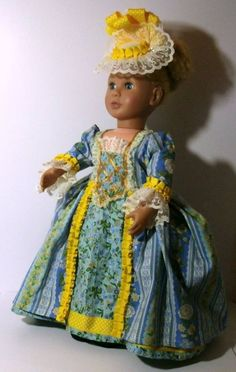 French Revolution era complete Costume for doll K Om, Regency Era, French Revolution, Marie Antoinette, Black Laces, Thigh Highs, Blue Flowers, Printed Cotton, Lace Trim