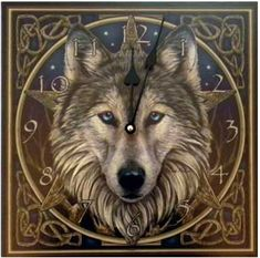 A beautiful and functional wall clock featuring gorgeous Celtic knotwork wolf imagery.  www.ancient-wisdoms.com