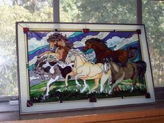 Faux Stained Glass Film Horses | window hanging fake stained glass i did not make this