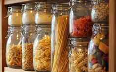 I want to organize all of my spices and pastas like this on open shelves in our kitchen when we remodel.