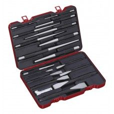 Commercial Tool> Mechanic Tool Set: 18 PC Flat Cold Chisel, Pin, Taper Punch Set