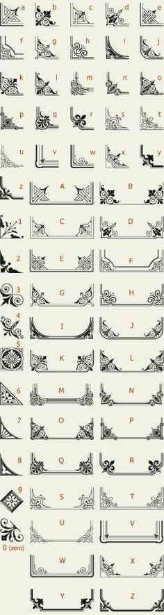 Letterhead Fonts / LHF Corner Specimens / Scrolls and Borders by dawnereed