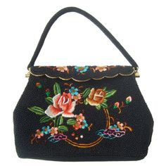 Exquiste Black Glass Beaded Embroidered Evening Bag c 1960 | From a collection of rare vintage evening bags and minaudières at https://www.1stdibs.com/fashion/handbags-purses-bags/evening-bags-minaudieres/