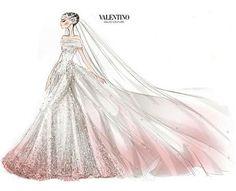 В 2012 году Валентино Гаравани создал свадебное платье без бретелей для бракосочетания Энн Хэтэуэй с Адамом Шульманом. Наряд был выполнен из шелкового тюля и имел кружевную отделку. Подол и шлейф платья были вручную тонированы в бледно-розовый цвет. Валентино создал также для Хэтэуэй фату в стиле 1920-х гг.
