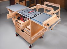 A mobile base, fold-up wings, plus infeed and outfeed support — this project gives a small saw big-time features.
