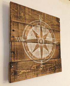 Teds Wood Working - Nautical Compass Sign / Nautical Nursery/ by PalletsandPaint More - Get A Lifetime Of Project Ideas & Inspiration! Nautical Nursery Decor, Nautical Home, Nursery Themes, Coastal Decor, Themed Nursery, Nautical Star, Vintage Nautical, Nautical Baby, Coastal Cottage
