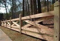 Split Rail Fence Designs - natural wood & cross bar design