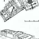 """Vista axonométrica del palacio-templo de los """"Gobernadores"""" de Tell Asmar (h.2100-2000 a.C) con el Templo de Shu-Sin a la derecha, el Palacio de los """"Gobernadores"""" en el centro y el santuario Palatino a la izquierda. Se erigieron importantes """"templos bajos o ras del suelo"""". Esta es una construcción cívico-religiosa que integró templo y palacio, aunque en estructuras arquitectonicas diferentes. Se refleja el vínculo entre lo religioso y lo político, por ej. el rey Shu-sin fue deificado en…"""