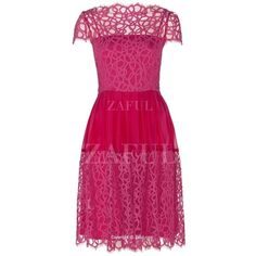 Lace Splicing Round Neck Short Sleeve Dress (£20) ❤ liked on Polyvore featuring dresses, short sleeve dress, pink short sleeve dress, pink dress, round neck dress and pink lace dress